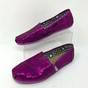 Toms Purple Sparkle Classic Flats Size 11